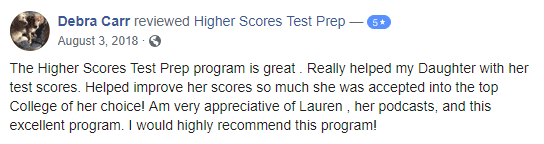 Higher Scores Test Prep Review from Debra C.